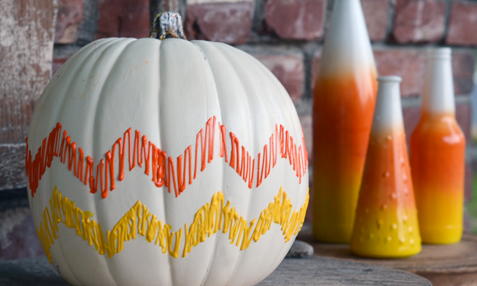 Candy Corn Chevron Pumpkin