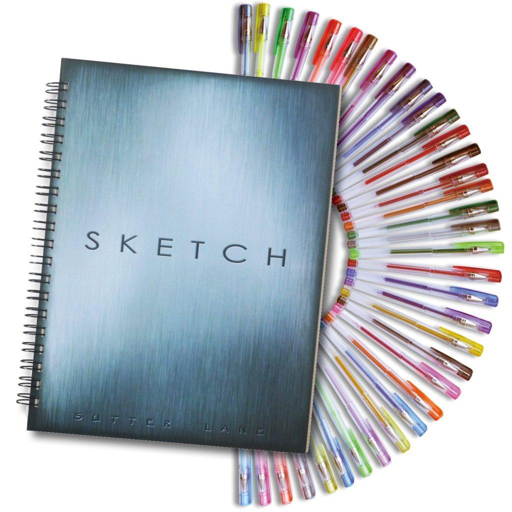 37-sketch-book-and-gel-pens